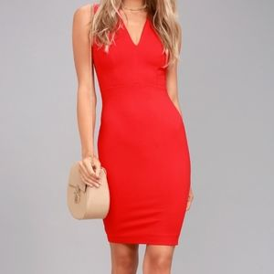 Red Bodycon Sleeveless Dress (NWT) LuLu's